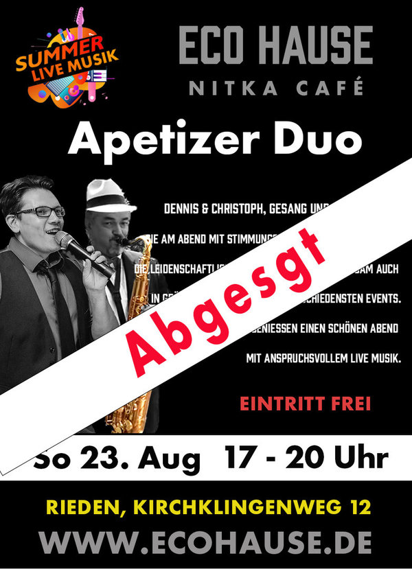 Reservierung - LIVE-MUSIK  mit Appetizer Duo am So. 23.08