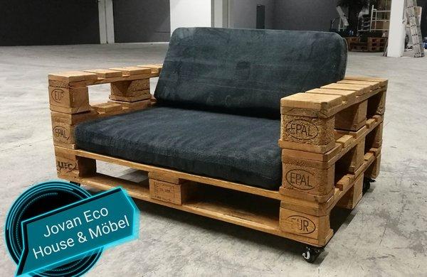 Palettenm bel sofa praud f r zwei personen jovan eco haus - Palettenmobel sofa ...